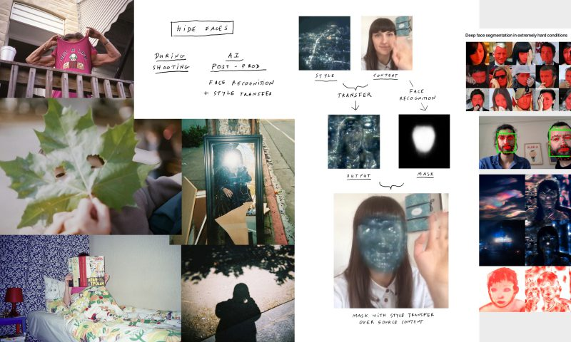 Many images of people with faces covered by a shirt, a leaf, a book, and computer distortions